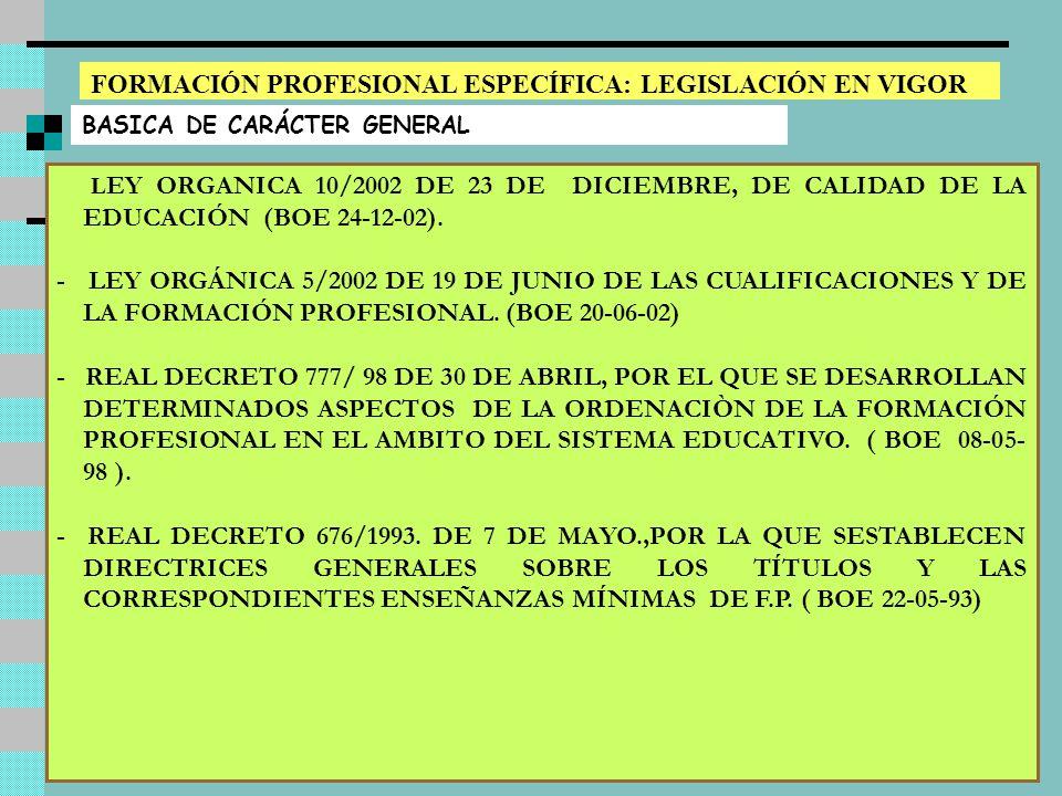 Luis Sanchís - Rafael Martín8 FORMACIÓN PROFESIONAL ESPECÍFICA: LEGISLACIÓN EN VIGOR BASICA DE CARÁCTER GENERAL L EY ORGANICA 10/2002 DE 23 DE DICIEMBRE, DE CALIDAD DE LA EDUCACIÓN (BOE 24-12-02).