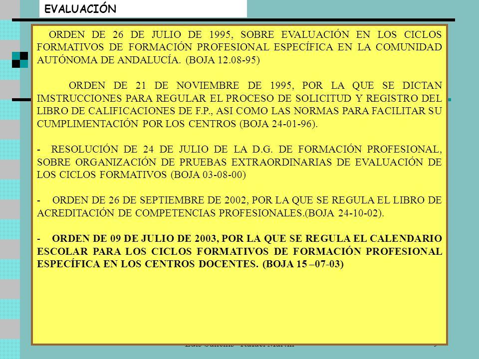 Luis Sanchís - Rafael Martín9 EVALUACIÓN ORDEN DE 26 DE JULIO DE 1995, SOBRE EVALUACIÓN EN LOS CICLOS FORMATIVOS DE FORMACIÓN PROFESIONAL ESPECÍFICA EN LA COMUNIDAD AUTÓNOMA DE ANDALUCÍA.