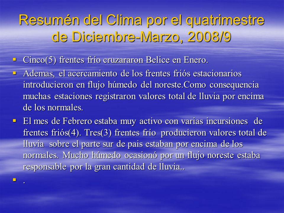 Resumén del Clima por el quatrimestre de Diciembre-Marzo, 2008/9 Cinco(5) frentes frío cruzararon Belice en Enero.