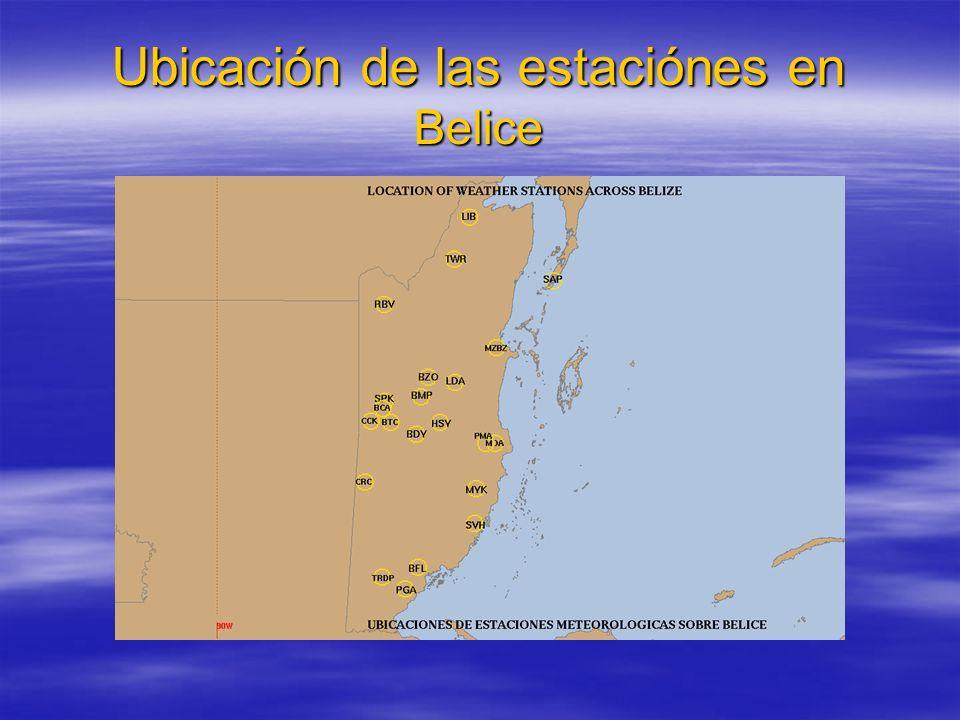 Ubicación de las estaciónes en Belice