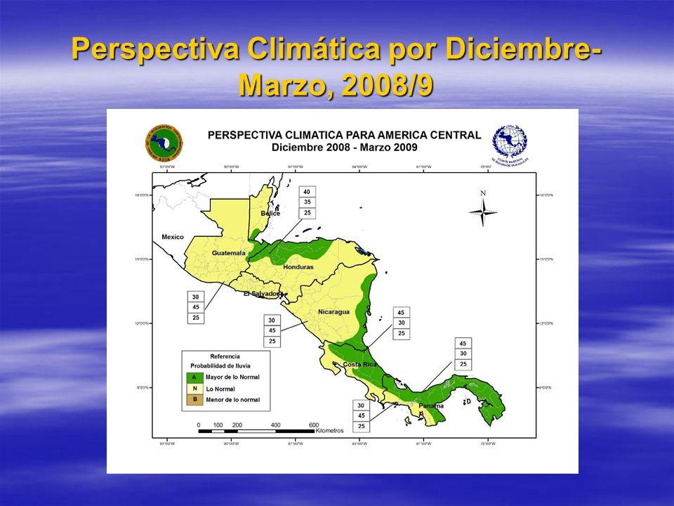 Resumén del Clima por el quatrimestre de Diciembre-Marzo, 2008/9 Dos(2) frentes friós cruzaron la costa de Belice en Marzo.