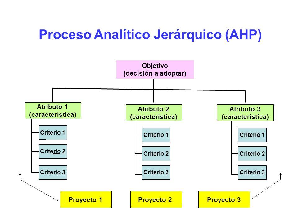 Proceso Analítico Jerárquico (AHP) Objetivo (decisión a adoptar) Atributo 1 (característica) Proyecto 2Proyecto 3Proyecto 1 Atributo 2 (característica