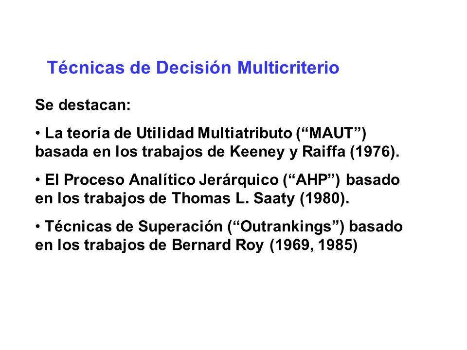 Técnicas de Decisión Multicriterio Se destacan: La teoría de Utilidad Multiatributo (MAUT) basada en los trabajos de Keeney y Raiffa (1976). El Proces