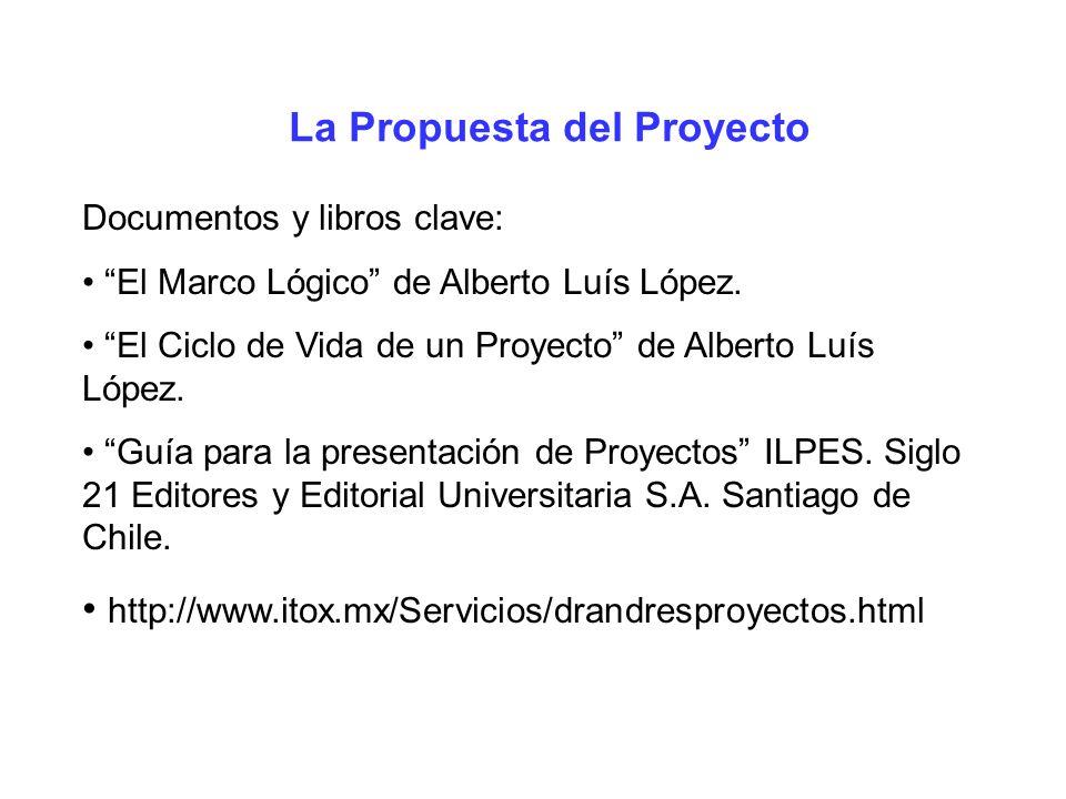 La Propuesta del Proyecto Documentos y libros clave: El Marco Lógico de Alberto Luís López. El Ciclo de Vida de un Proyecto de Alberto Luís López. Guí
