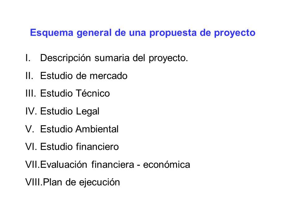 Esquema general de una propuesta de proyecto I.Descripción sumaria del proyecto. II.Estudio de mercado III.Estudio Técnico IV.Estudio Legal V.Estudio