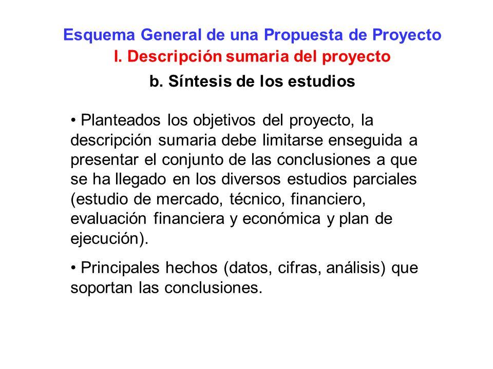 Esquema General de una Propuesta de Proyecto I. Descripción sumaria del proyecto b. Síntesis de los estudios Planteados los objetivos del proyecto, la