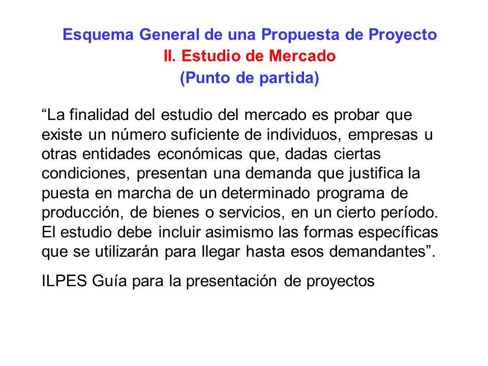 Esquema General de una Propuesta de Proyecto II. Estudio de Mercado (Punto de partida) La finalidad del estudio del mercado es probar que existe un nú