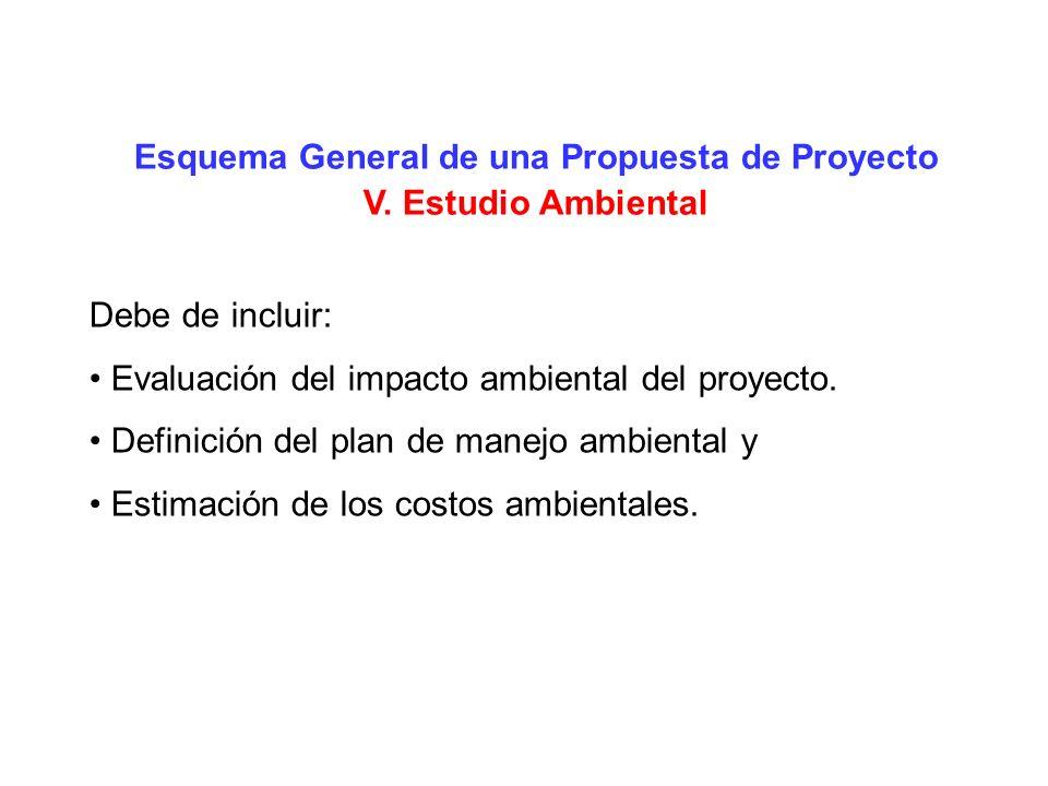Esquema General de una Propuesta de Proyecto V. Estudio Ambiental Debe de incluir: Evaluación del impacto ambiental del proyecto. Definición del plan