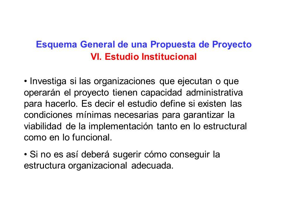 Esquema General de una Propuesta de Proyecto VI. Estudio Institucional Investiga si las organizaciones que ejecutan o que operarán el proyecto tienen