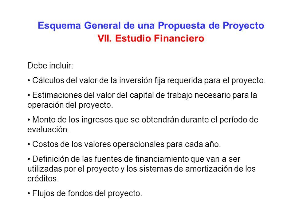 Esquema General de una Propuesta de Proyecto VII. Estudio Financiero Debe incluir: Cálculos del valor de la inversión fija requerida para el proyecto.