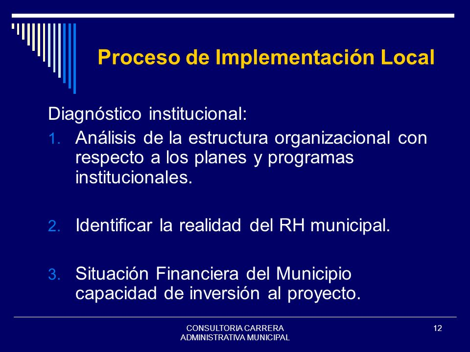 CONSULTORIA CARRERA ADMINISTRATIVA MUNICIPAL 12 Proceso de Implementación Local Diagnóstico institucional: 1. Análisis de la estructura organizacional