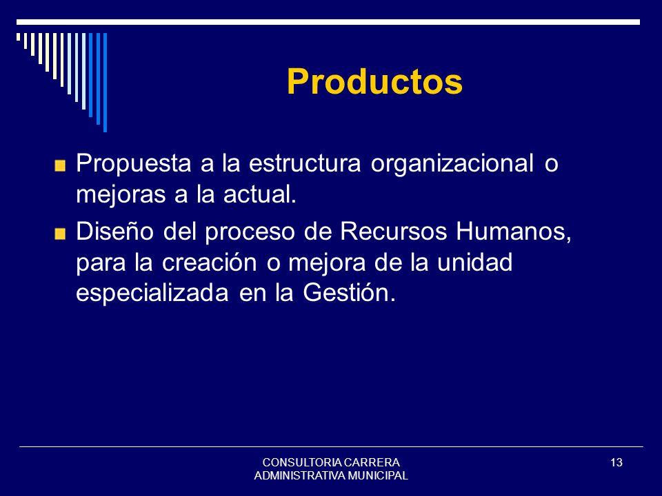 CONSULTORIA CARRERA ADMINISTRATIVA MUNICIPAL 13 Productos Propuesta a la estructura organizacional o mejoras a la actual. Diseño del proceso de Recurs