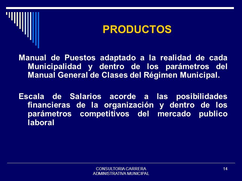 CONSULTORIA CARRERA ADMINISTRATIVA MUNICIPAL 14 PRODUCTOS Manual de Puestos adaptado a la realidad de cada Municipalidad y dentro de los parámetros de