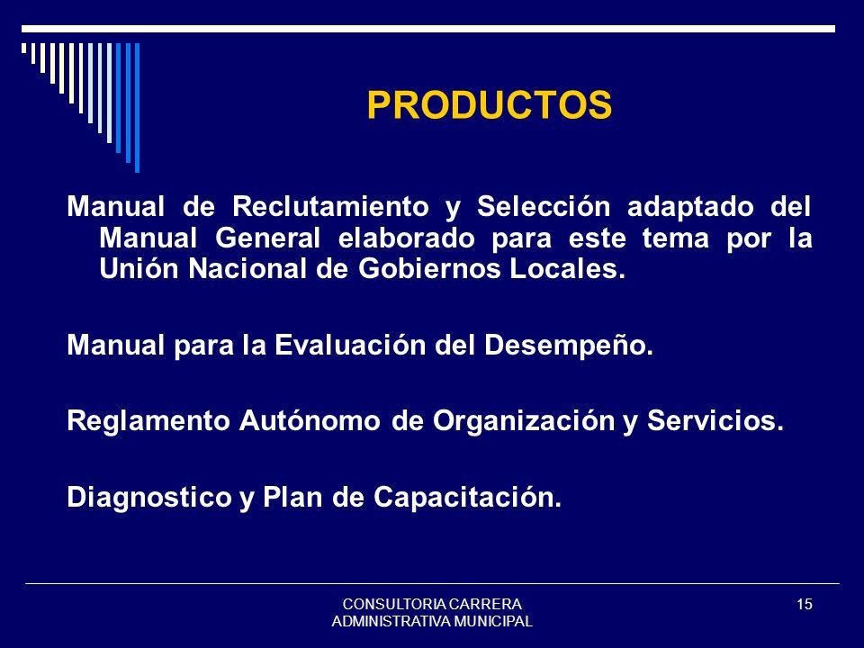 CONSULTORIA CARRERA ADMINISTRATIVA MUNICIPAL 15 PRODUCTOS Manual de Reclutamiento y Selección adaptado del Manual General elaborado para este tema por