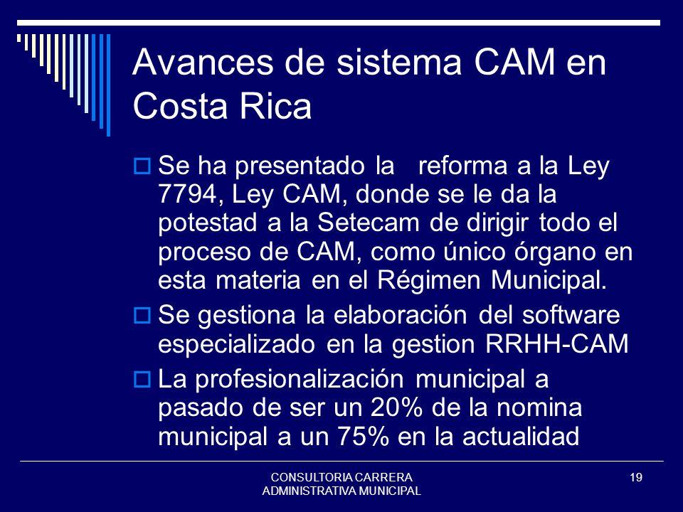 CONSULTORIA CARRERA ADMINISTRATIVA MUNICIPAL 19 Avances de sistema CAM en Costa Rica Se ha presentado la reforma a la Ley 7794, Ley CAM, donde se le d