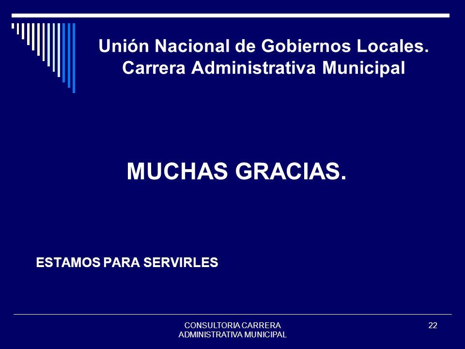 CONSULTORIA CARRERA ADMINISTRATIVA MUNICIPAL 22 Unión Nacional de Gobiernos Locales. Carrera Administrativa Municipal MUCHAS GRACIAS. ESTAMOS PARA SER