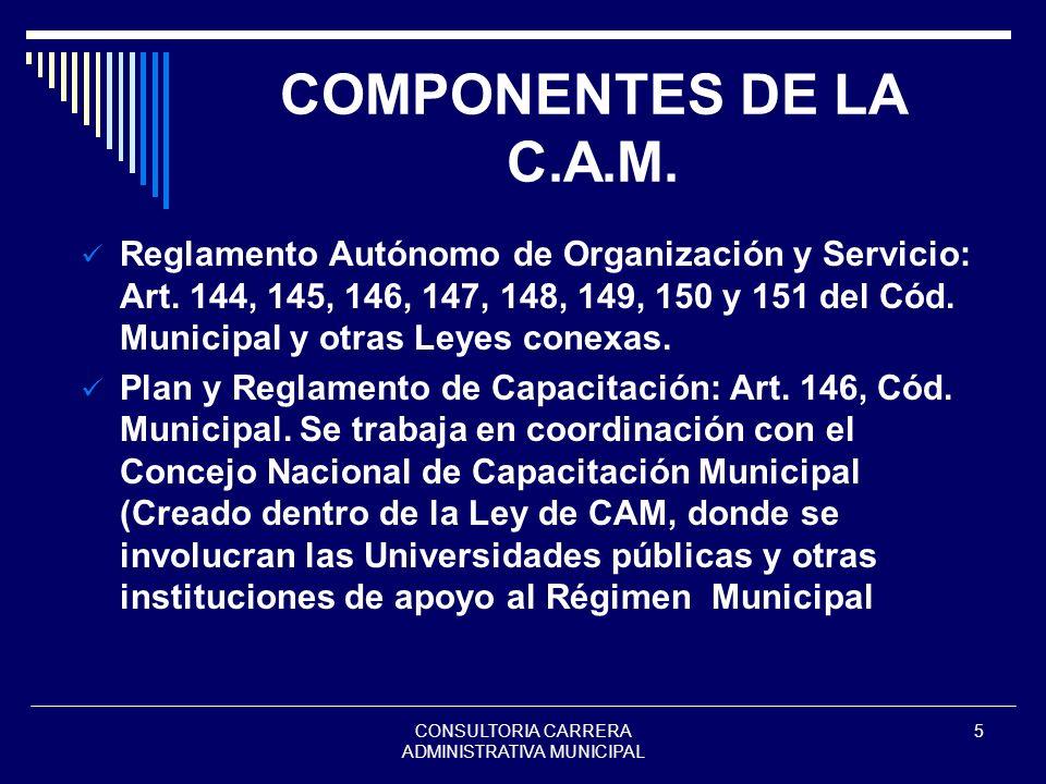 CONSULTORIA CARRERA ADMINISTRATIVA MUNICIPAL 5 COMPONENTES DE LA C.A.M. Reglamento Autónomo de Organización y Servicio: Art. 144, 145, 146, 147, 148,
