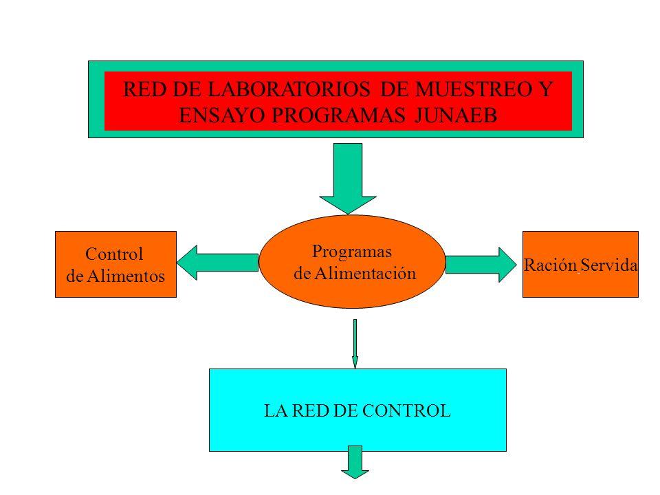 RED DE LABORATORIOS DE MUESTREO Y ENSAYO PROGRAMAS JUNAEB Programas de Alimentación Control de Alimentos Ración Servida LA RED DE CONTROL