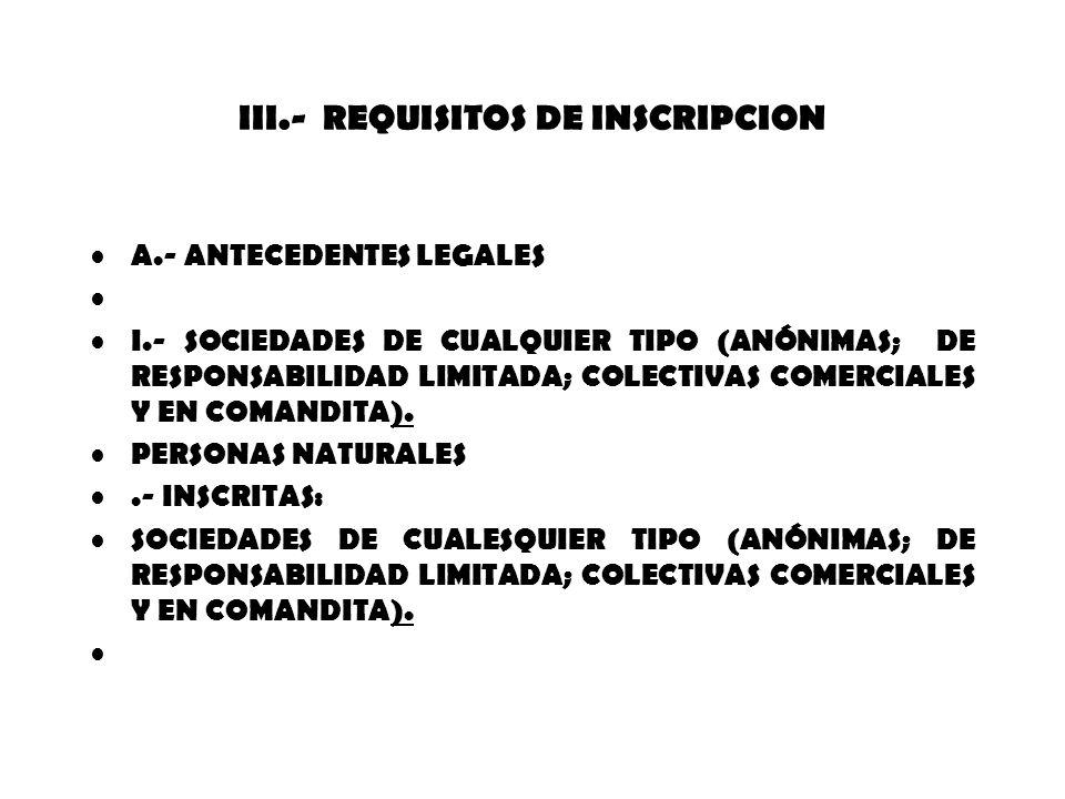 III.- REQUISITOS DE INSCRIPCION A.- ANTECEDENTES LEGALES I.- SOCIEDADES DE CUALQUIER TIPO (ANÓNIMAS; DE RESPONSABILIDAD LIMITADA; COLECTIVAS COMERCIAL