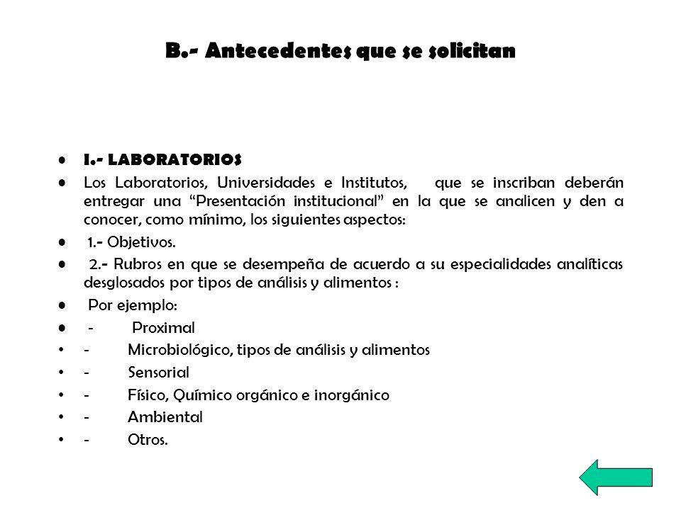 B.- Antecedentes que se solicitan I.- LABORATORIOS Los Laboratorios, Universidades e Institutos, que se inscriban deberán entregar una Presentación in