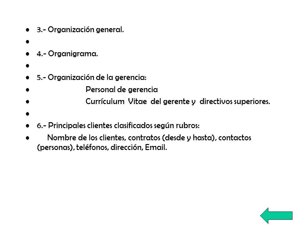 3.- Organización general. 4.- Organigrama. 5.- Organización de la gerencia: Personal de gerencia Currículum Vitae del gerente y directivos superiores.