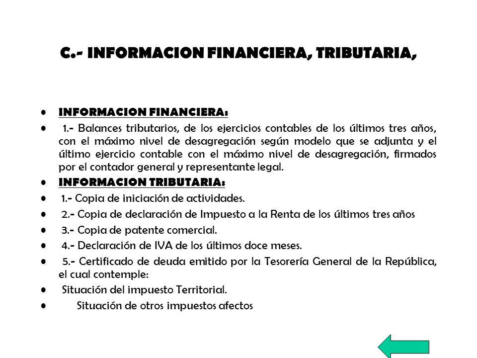 C.- INFORMACION FINANCIERA, TRIBUTARIA, INFORMACION FINANCIERA: 1.- Balances tributarios, de los ejercicios contables de los últimos tres años, con el
