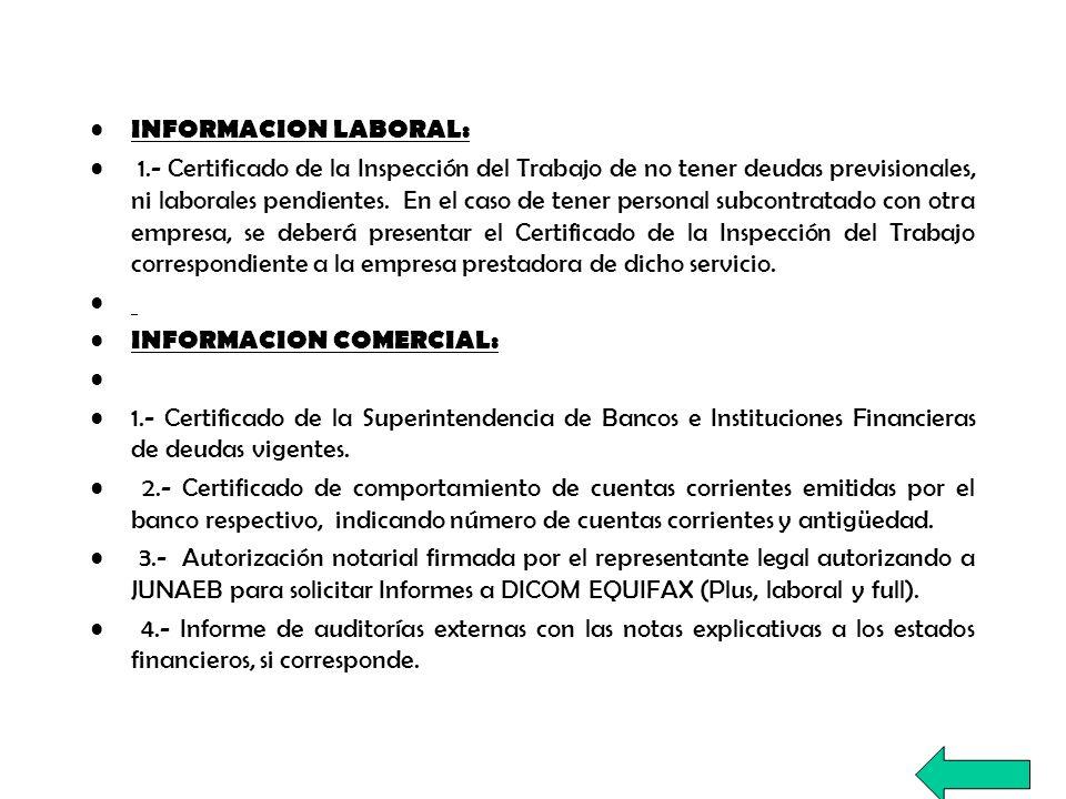 INFORMACION LABORAL: 1.- Certificado de la Inspección del Trabajo de no tener deudas previsionales, ni laborales pendientes. En el caso de tener perso