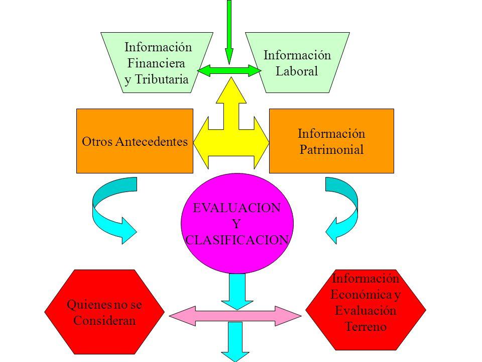 Información Financiera y Tributaria Información Laboral Otros Antecedentes Información Patrimonial EVALUACION Y CLASIFICACION Quienes no se Consideran