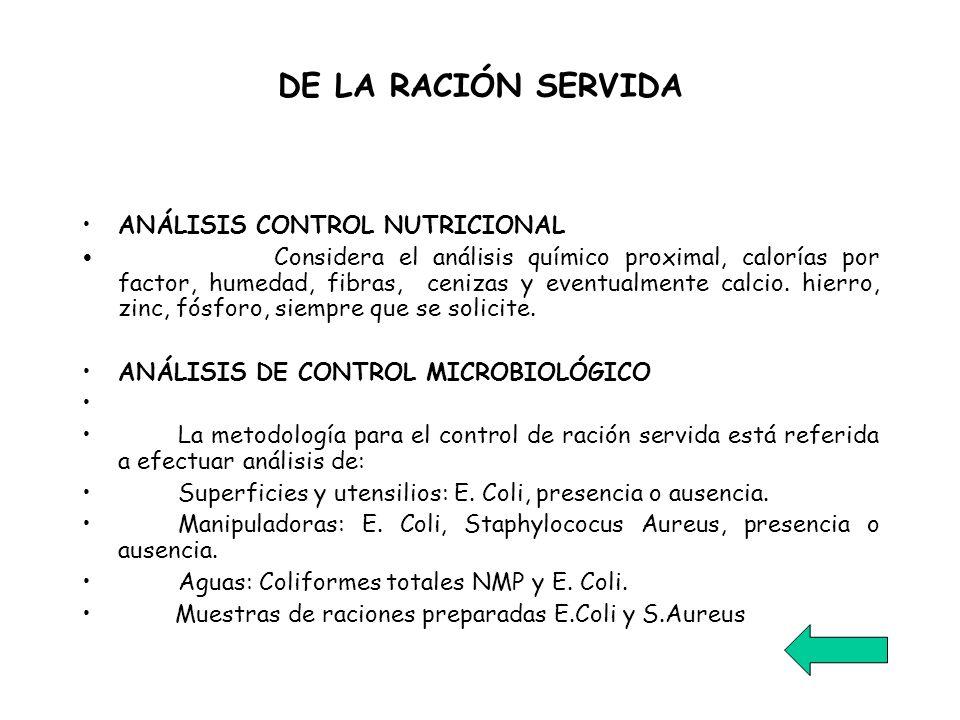 DE LA RACIÓN SERVIDA ANÁLISIS CONTROL NUTRICIONAL Considera el análisis químico proximal, calorías por factor, humedad, fibras, cenizas y eventualment