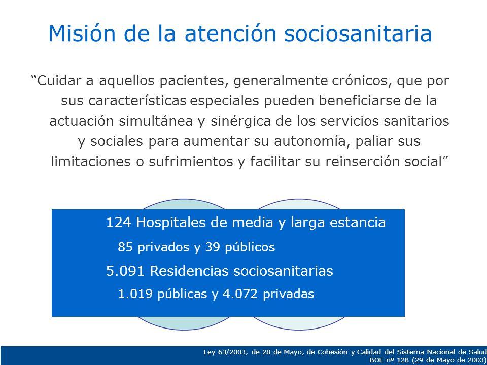 Misión de la atención sociosanitaria Cuidar a aquellos pacientes, generalmente crónicos, que por sus características especiales pueden beneficiarse de