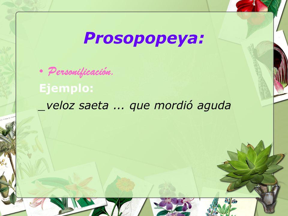 Prosopopeya: Personificación. Ejemplo: _veloz saeta... que mordió aguda
