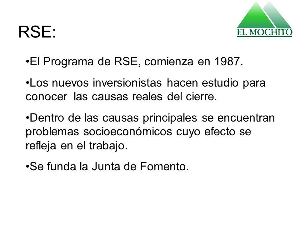 El Programa de RSE, comienza en 1987. Los nuevos inversionistas hacen estudio para conocer las causas reales del cierre. Dentro de las causas principa