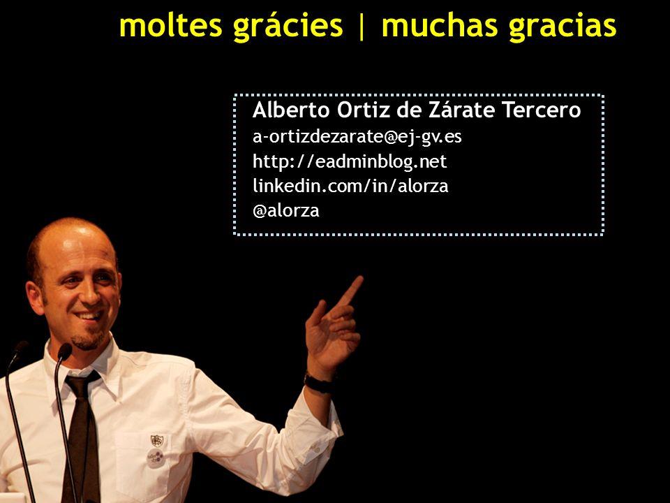 moltes grácies | muchas gracias Alberto Ortiz de Zárate Tercero a-ortizdezarate@ej-gv.es http://eadminblog.net linkedin.com/in/alorza @alorza