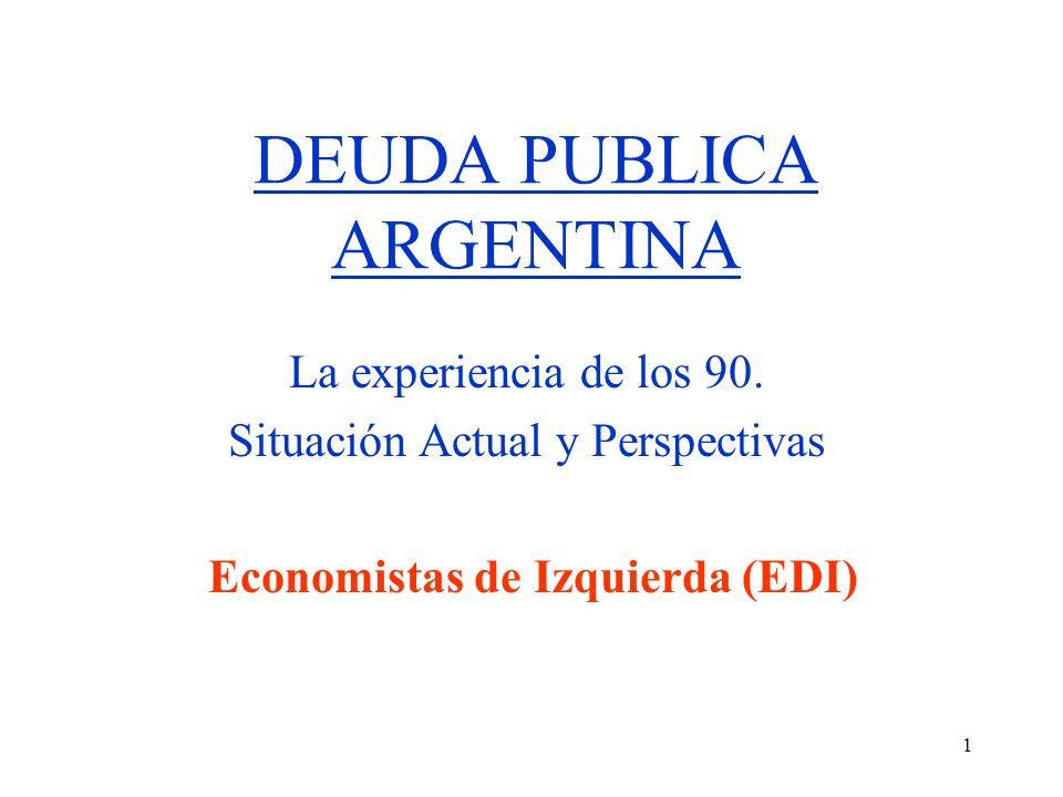 1 DEUDA PUBLICA ARGENTINA La experiencia de los 90.