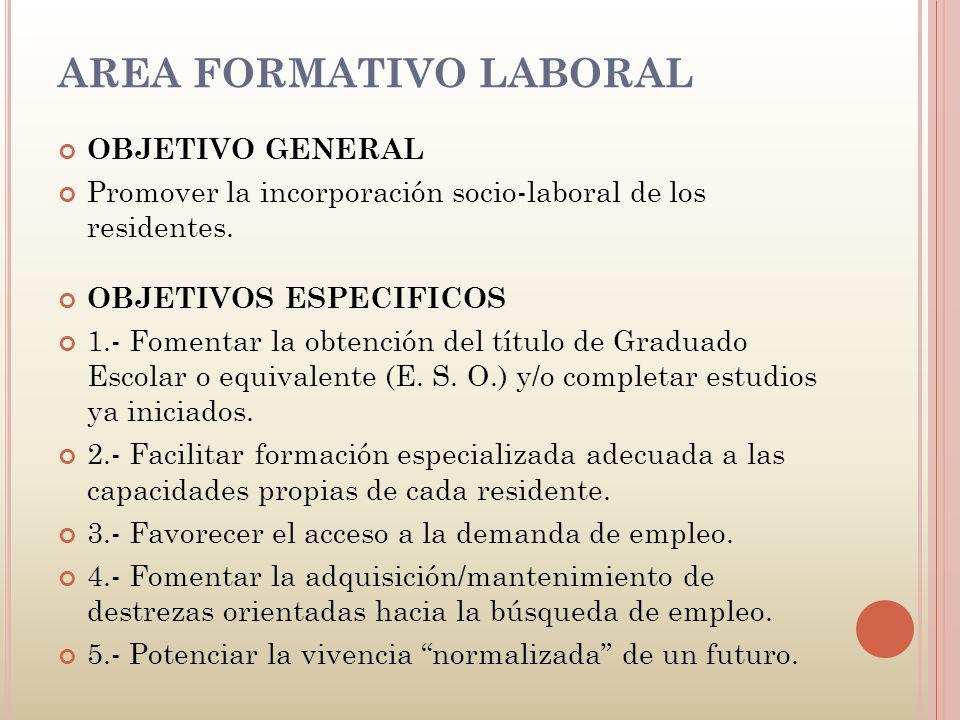 AREA FORMATIVO LABORAL OBJETIVO GENERAL Promover la incorporación socio-laboral de los residentes. OBJETIVOS ESPECIFICOS 1.- Fomentar la obtención del
