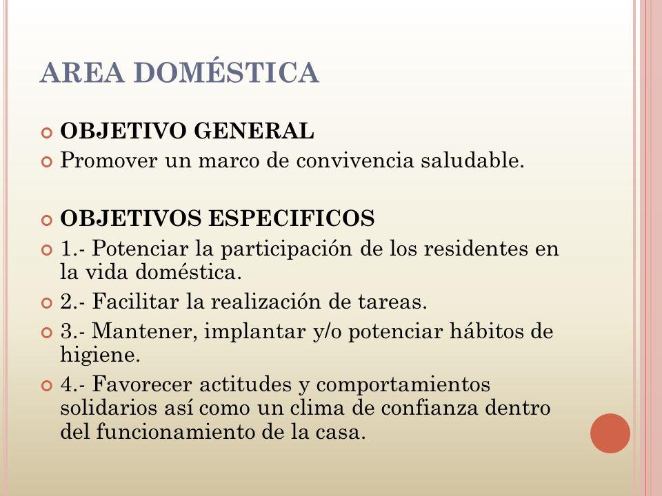 AREA DOMÉSTICA OBJETIVO GENERAL Promover un marco de convivencia saludable. OBJETIVOS ESPECIFICOS 1.- Potenciar la participación de los residentes en