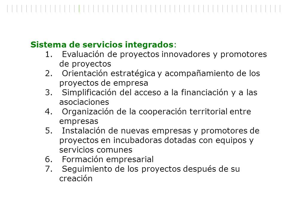 Sistema de servicios integrados: 1. Evaluación de proyectos innovadores y promotores de proyectos 2. Orientación estratégica y acompañamiento de los p