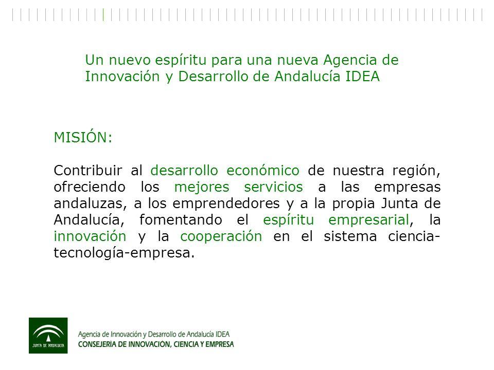 MISIÓN: Contribuir al desarrollo económico de nuestra región, ofreciendo los mejores servicios a las empresas andaluzas, a los emprendedores y a la pr