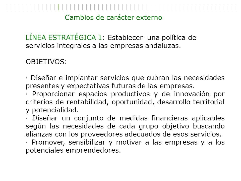 LÍNEA ESTRATÉGICA 1: Establecer una política de servicios integrales a las empresas andaluzas. OBJETIVOS: · Diseñar e implantar servicios que cubran l