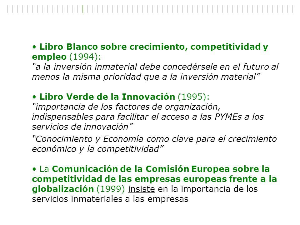 Libro Blanco sobre crecimiento, competitividad y empleo (1994): a la inversión inmaterial debe concedérsele en el futuro al menos la misma prioridad q