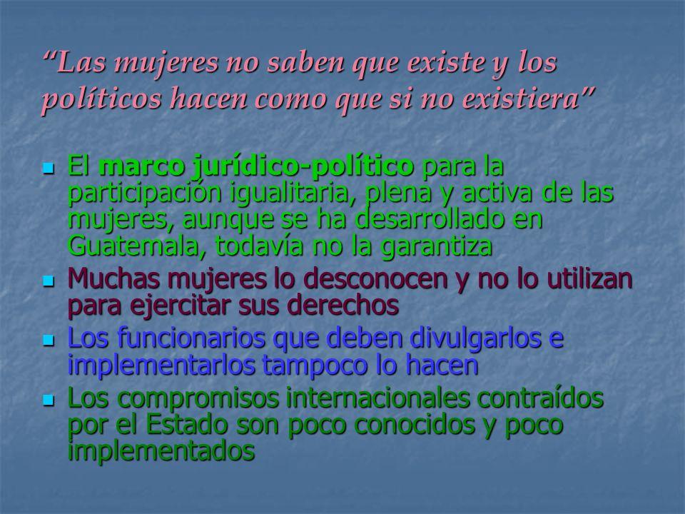 El marco jurídico-político para la participación igualitaria, plena y activa de las mujeres, aunque se ha desarrollado en Guatemala, todavía no la gar