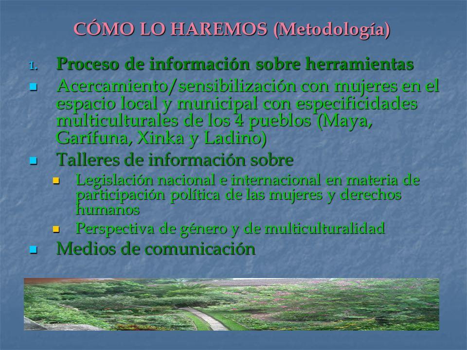 CÓMO LO HAREMOS (Metodología) 1. Proceso de información sobre herramientas Acercamiento/sensibilización con mujeres en el espacio local y municipal co