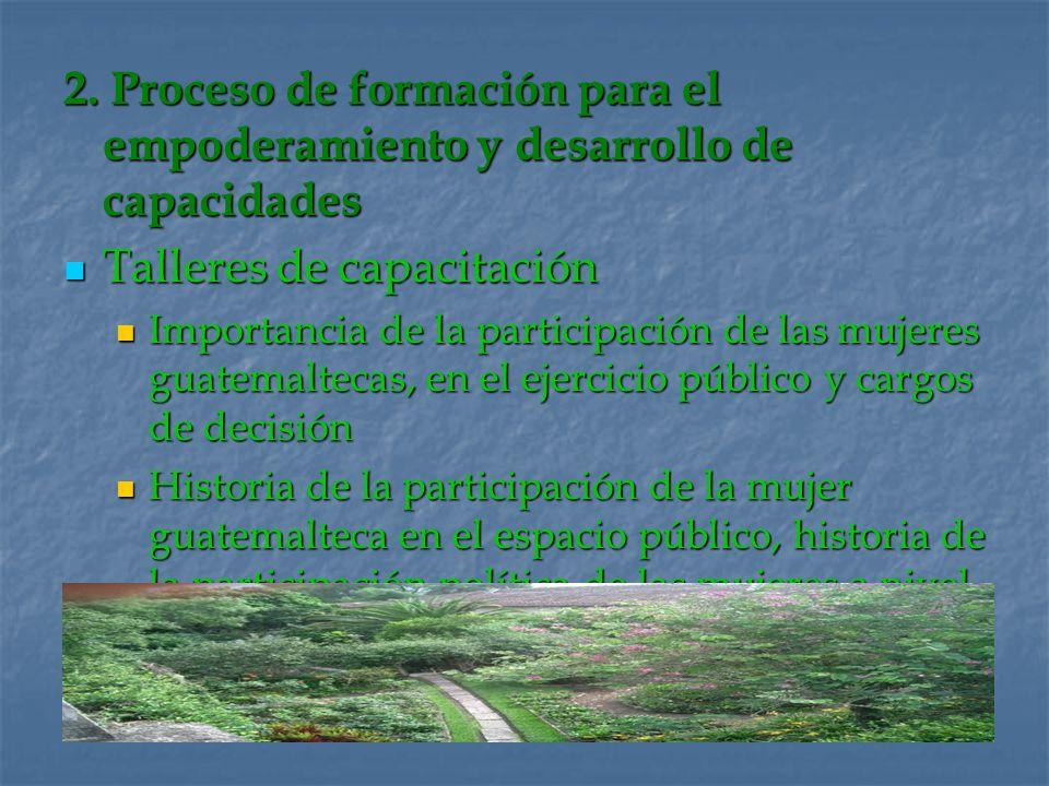 2. Proceso de formación para el empoderamiento y desarrollo de capacidades Talleres de capacitación Talleres de capacitación Importancia de la partici
