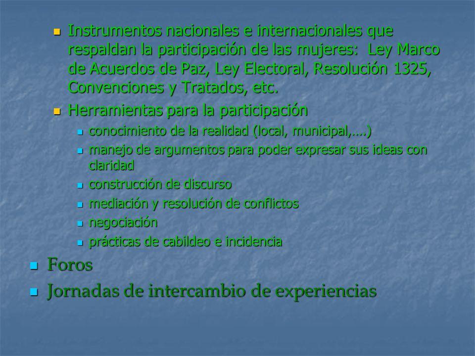 Instrumentos nacionales e internacionales que respaldan la participación de las mujeres: Ley Marco de Acuerdos de Paz, Ley Electoral, Resolución 1325,