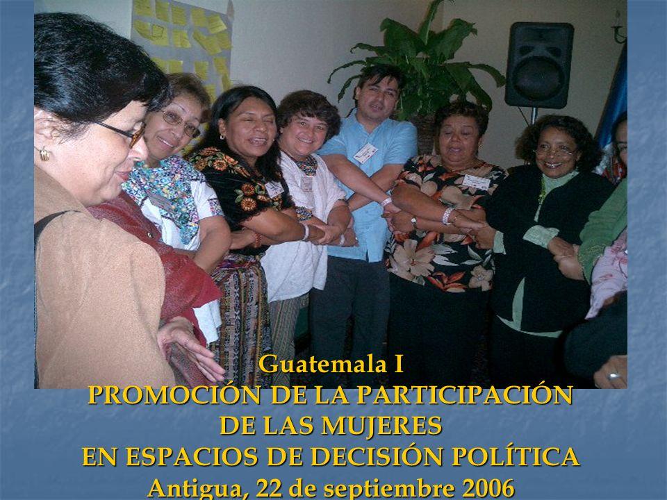 Guatemala I PROMOCIÓN DE LA PARTICIPACIÓN DE LAS MUJERES EN ESPACIOS DE DECISIÓN POLÍTICA Antigua, 22 de septiembre 2006