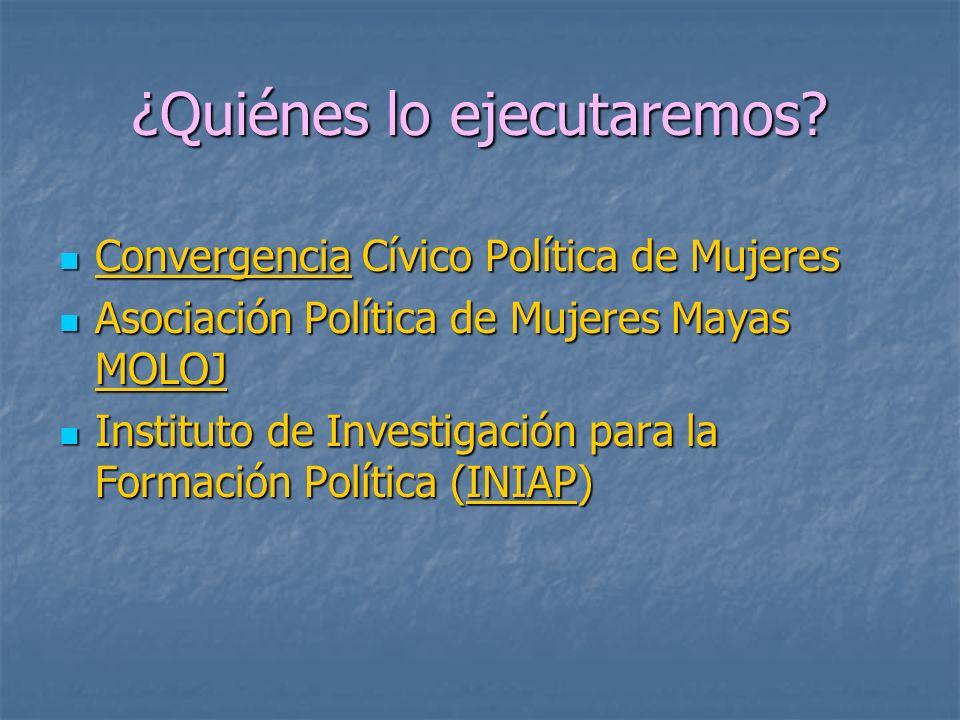 ¿Quiénes lo ejecutaremos? Convergencia Cívico Política de Mujeres Convergencia Cívico Política de Mujeres Asociación Política de Mujeres Mayas MOLOJ A