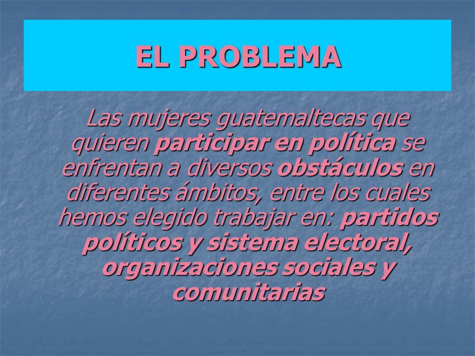 EL PROBLEMA Las mujeres guatemaltecas que quieren participar en política se enfrentan a diversos obstáculos en diferentes ámbitos, entre los cuales he