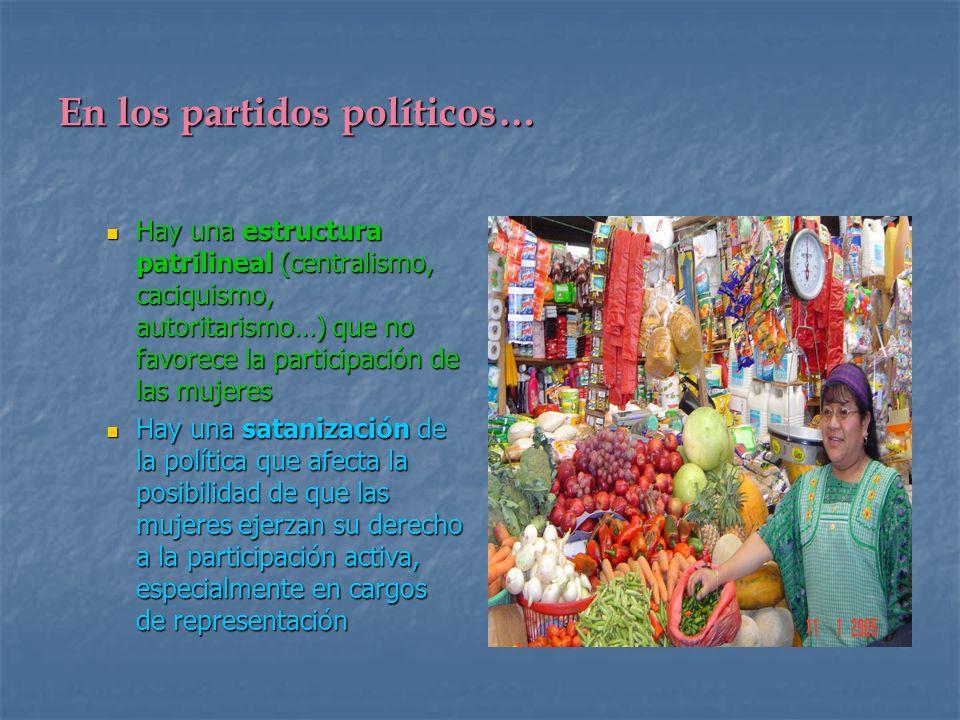En los partidos políticos… Hay una estructura patrilineal (centralismo, caciquismo, autoritarismo…) que no favorece la participación de las mujeres Ha