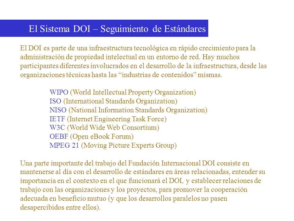 El Sistema DOI – Seguimiento de Estándares El DOI es parte de una infraestructura tecnológica en rápido crecimiento para la administración de propieda