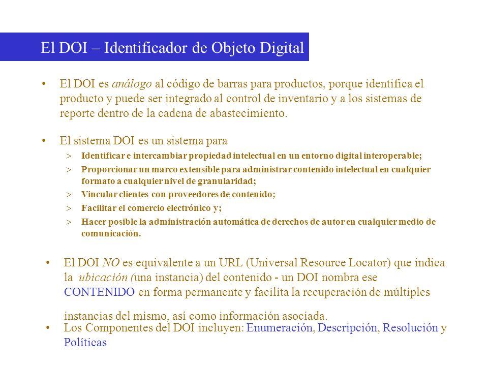 El DOI es análogo al código de barras para productos, porque identifica el producto y puede ser integrado al control de inventario y a los sistemas de